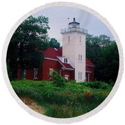 Round Beach Towel featuring the photograph 40 Mile Light by Daniel Thompson