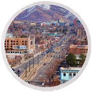 Round Beach Towel featuring the photograph 400 S Salt Lake City by Ely Arsha