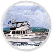 42 Foot Grand Banks Motoryacht Round Beach Towel by Jack Pumphrey