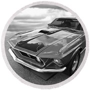 428 Cobra Jet Mach1 Ford Mustang 1969 In Black And White Round Beach Towel by Gill Billington