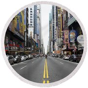 42nd Street - New York Round Beach Towel
