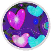 472 -  Valentine Hearts  ... Round Beach Towel