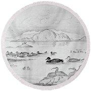 Blackburn Birds, 1895 Round Beach Towel