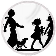 Round Beach Towel featuring the digital art 4th Of July Childrens Parade Panorama by Rose Santuci-Sofranko
