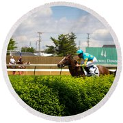 4th Turn Churchill Downs Round Beach Towel by John McGraw