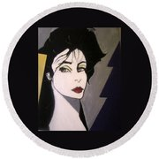 Round Beach Towel featuring the painting Art Deco by Nora Shepley