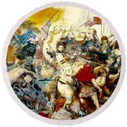 Round Beach Towel featuring the painting Battle Of Grunwald by Henryk Gorecki
