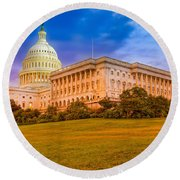 Round Beach Towel featuring the photograph Capitol Building by Peter Lakomy