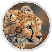 Cheetah Round Beach Towel by David Stribbling