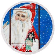 Round Beach Towel featuring the painting Christmas Card by Nora Shepley