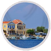 Colorful Symi Round Beach Towel