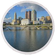 Fx1l-802 Columbus Ohio Skyline Photo Round Beach Towel