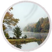 Foggy Fall Morning Round Beach Towel