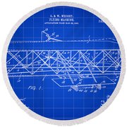 Flying Machine Patent 1903 - Blue Round Beach Towel