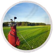 Golf Gear Round Beach Towel by Michal Bednarek