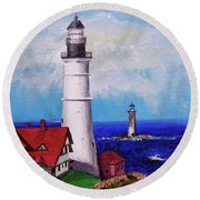 Lighthouse Hill Round Beach Towel by Linda Simon