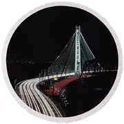 Oakland Bridge Round Beach Towel