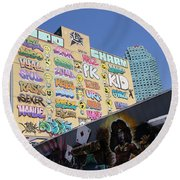 5 Pointz Graffiti Art 2 Round Beach Towel by Allen Beatty