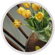 Still Life With Yellow Tulips Round Beach Towel
