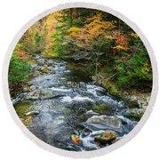 Stream Great Smoky Mountains Painted Round Beach Towel