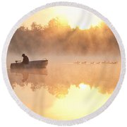 Sunrise In Fog Lake Cassidy With Fisherman In Small Fishing Boat Round Beach Towel