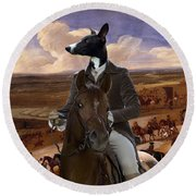 Whippet  Art Canvas Print Round Beach Towel