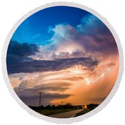 Wicked Good Nebraska Supercell Round Beach Towel