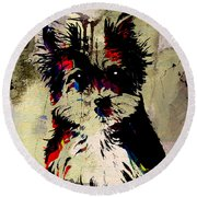 Yorkshire Terrier Round Beach Towel by Marvin Blaine