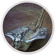 50s Cadillac Hood Ornament #2 Round Beach Towel