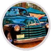 '51 Chevy Pickup With Teardrop Trailer Round Beach Towel
