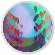 510 - Pastel Flowers ... Round Beach Towel