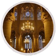 Architectural Artwork Within Notre Dame In Paris France Round Beach Towel