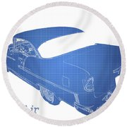 Classic Cars Round Beach Towel featuring the photograph '55 Bel Air by Aaron Berg