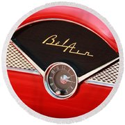 Classic Cars Round Beach Towel featuring the photograph '56 Bel Air by Aaron Berg