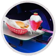 Round Beach Towel featuring the photograph 57 Chevy At A Drive-in by Gunter Nezhoda