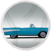 57 Chevy Convertible Round Beach Towel