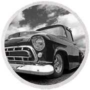 57 Stepside Chevy In Black And White Round Beach Towel by Gill Billington