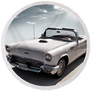 57 T-bird Round Beach Towel