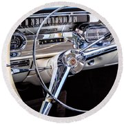 58 Cadillac Dashboard Round Beach Towel