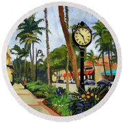 5th Avenue Naples Florida Round Beach Towel