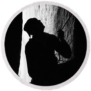 A Climber Moving Up A Wall In Yosemite Round Beach Towel