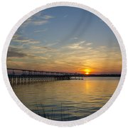 Arthur Ravenel Bridge Tranquil Sunset Round Beach Towel by Dale Powell