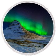 Round Beach Towel featuring the photograph Aurora Borealis Or Northern Lights by Panoramic Images