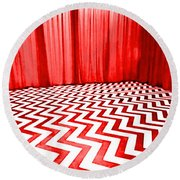 Round Beach Towel featuring the painting Black Lodge by Luis Ludzska