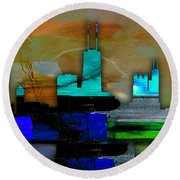 Chicago Skyline Watercolor Round Beach Towel