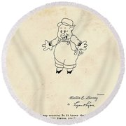 Disney Pig Patent Round Beach Towel