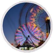 Evergreen State Fair With Ferris Wheel Round Beach Towel