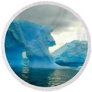 Round Beach Towel featuring the photograph Icebergs by Amanda Stadther