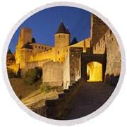 Medieval Carcassonne Round Beach Towel