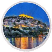 Molyvos Town In Lesvos Island Round Beach Towel